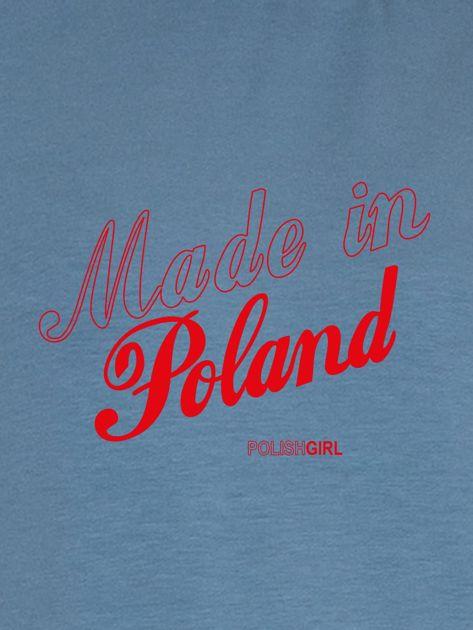 Bluza damska patriotyczna nadruk MADE IN POLAND niebieska                              zdj.                              2