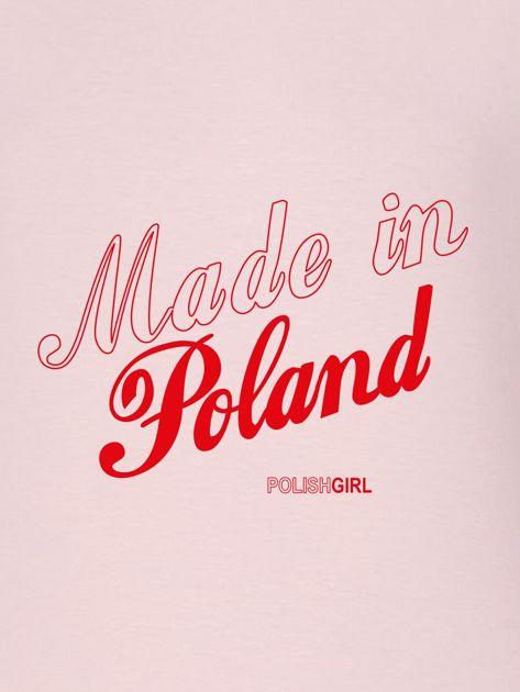 Bluza damska patriotyczna nadruk MADE IN POLAND różowa                                  zdj.                                  2