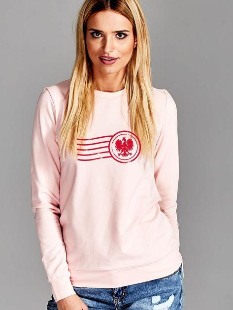 Bluza damska patriotyczna z nadrukiem Orła Białego różowa                                  zdj.                                  1