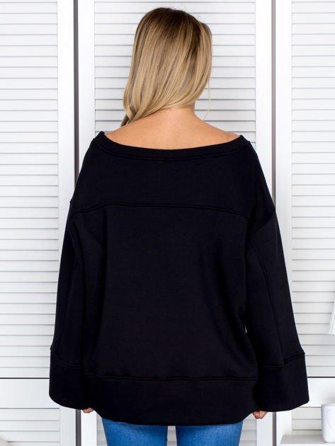 Bluza damska z górskim nadrukiem i szerokimi rękawami czarna                              zdj.                              2
