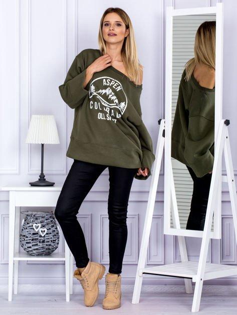 Bluza damska z górskim nadrukiem i szerokimi rękawami khaki                                  zdj.                                  4