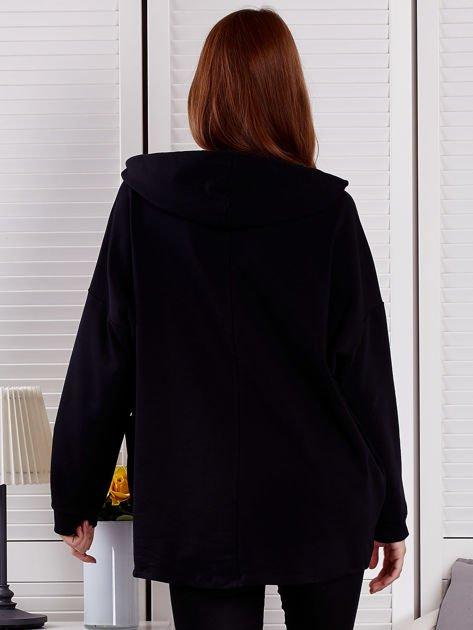 Bluza damska z kolorowymi troczkami czarna                              zdj.                              2