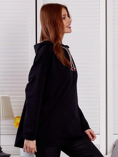 Bluza damska z kolorowymi troczkami czarna                              zdj.                              5