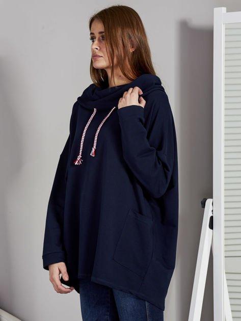 Bluza damska z kolorowymi troczkami granatowa                              zdj.                              3