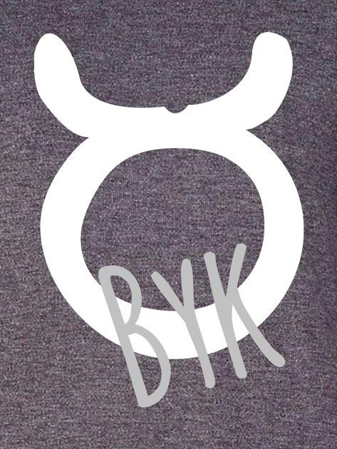 Bluza damska z motywem znaku zodiaku BYK ciemnoszara                              zdj.                              2