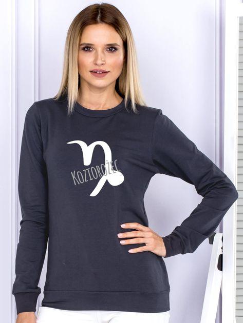 Bluza damska z motywem znaku zodiaku KOZIOROŻEC grafitowa                              zdj.                              1