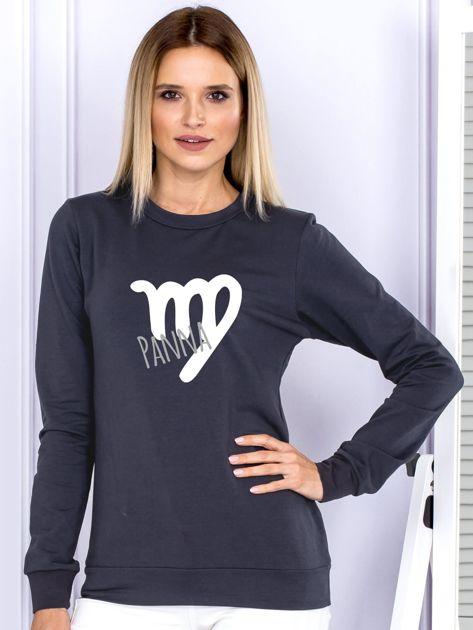 Bluza damska z motywem znaku zodiaku PANNA grafitowa                              zdj.                              1