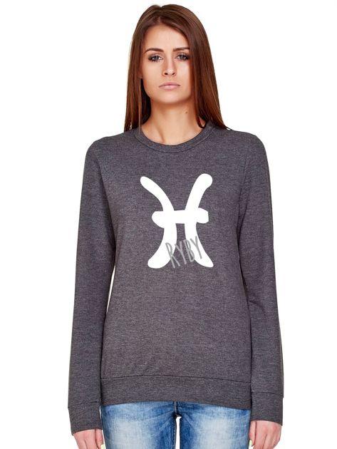 Bluza damska z motywem znaku zodiaku RYBY ciemnoszara                              zdj.                              1