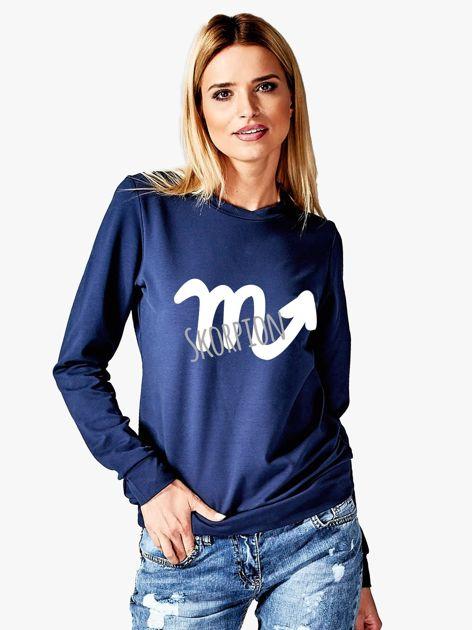 Bluza damska z motywem znaku zodiaku SKORPION granatowa                              zdj.                              1