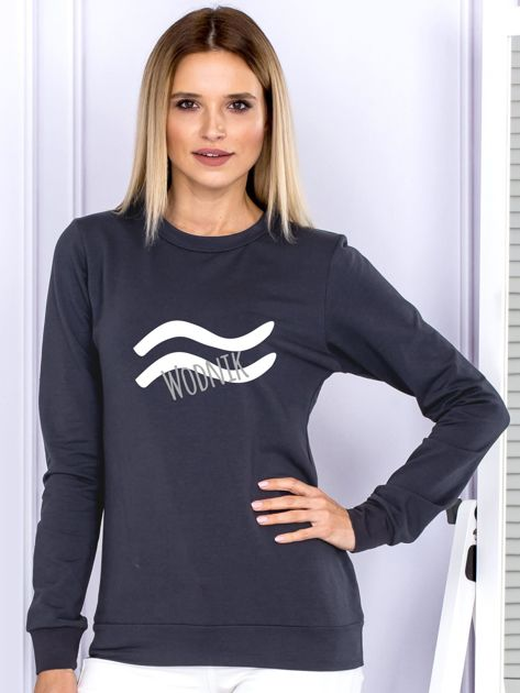 Bluza damska z motywem znaku zodiaku WODNIK grafitowa                              zdj.                              1