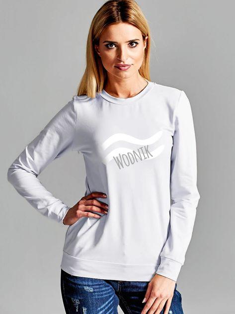 Bluza damska z motywem znaku zodiaku WODNIK jasnoszara                                  zdj.                                  1