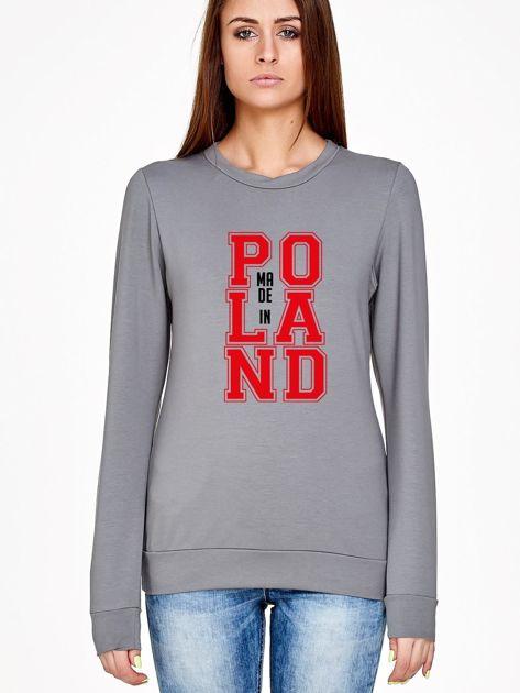 Bluza damska z nadrukiem MADE IN POLAND szara                              zdj.                              1