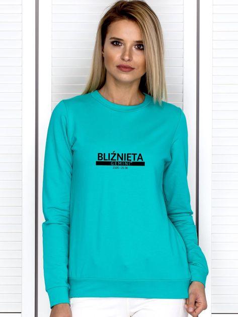 Bluza damska z nadrukiem znaku zodiaku BLIŹNIĘTA miętowa                              zdj.                              1