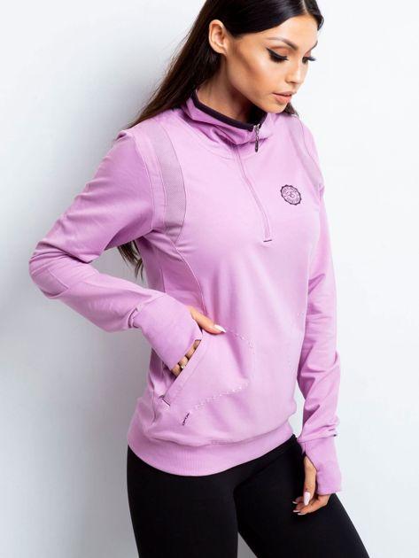 Bluza damska ze stójką i kieszeniami fioletowa
