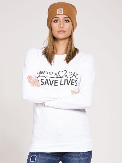 Bluza dresowa biała z nadrukiem                              zdj.                              1