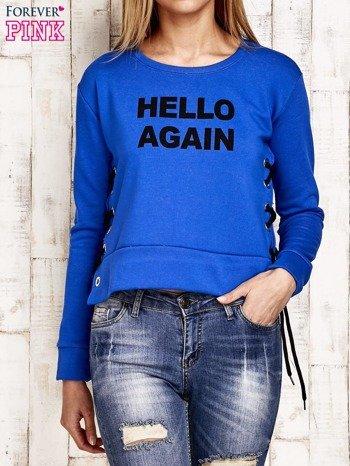Bluza lace up niebieska z napisem                              zdj.                              1