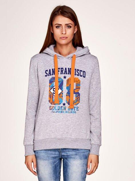 Bluza melanżowa z napisem SAN FRANCISCO i kapturem szara