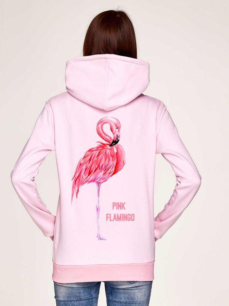 Bluza z flamingiem i kapturem jasnoróżowa