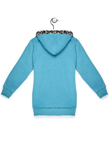 Bluza z kapturem dla dziewczynki turkusowa