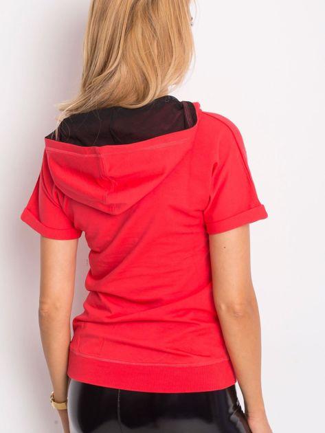 Bluza z krótkim rękawem i napisem POWER OF DREAM koralowa                              zdj.                              3