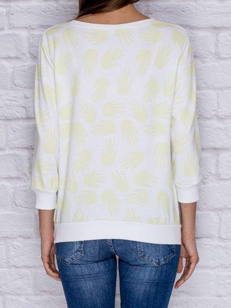 Bluza z nadrukiem dłoni limonkowa