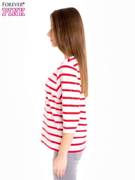 Bluzka basic w biało-czerwone paski                                  zdj.                                  3