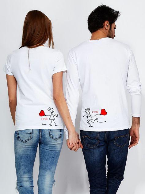 Bluzka biała męska z długim rękawem I LOVE HER dla par                                  zdj.                                  3