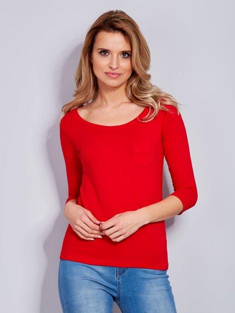 Bluzka czerwona z guzikami i koronką z tyłu                              zdj.                              2