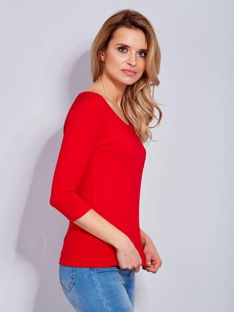 Bluzka czerwona z guzikami i koronką z tyłu                              zdj.                              5