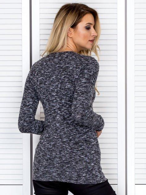 Bluzka damska melanżowa z długim rękawem czarna                              zdj.                              2