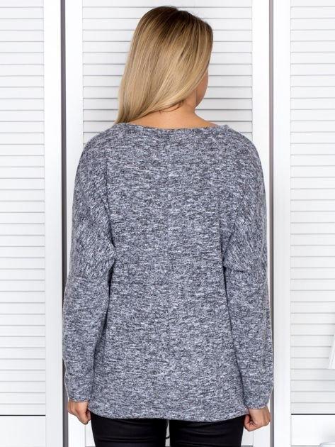 Bluzka damska melanżowa z troczkami na dole szara                                  zdj.                                  2