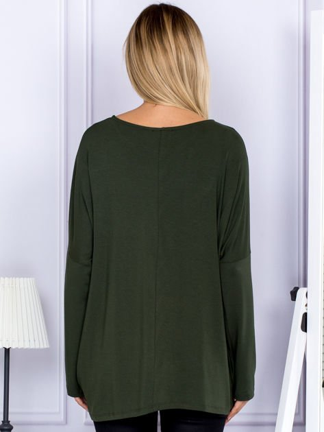 Bluzka damska oversize khaki                              zdj.                              2