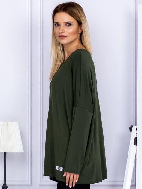 Bluzka damska oversize khaki                              zdj.                              3