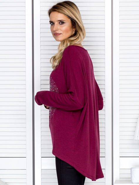 Bluzka damska oversize z kolorowymi dżetami bordowa                                  zdj.                                  5