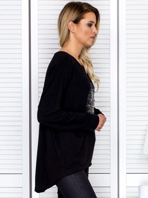 Bluzka damska oversize z kolorowymi dżetami czarna                              zdj.                              3