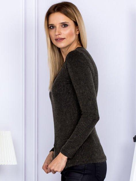 Bluzka damska prążkowana z długim rękawem khaki                              zdj.                              5