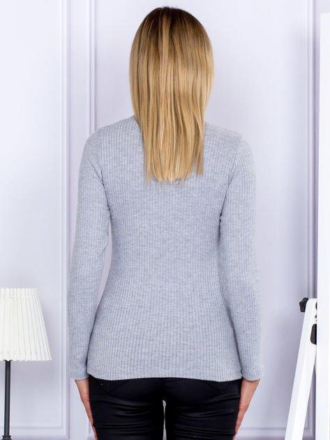Bluzka damska prążkowana z długim rękawem szara                              zdj.                              2