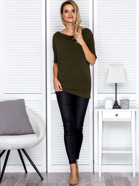 Bluzka damska z lejącym dekoltem khaki                              zdj.                              4