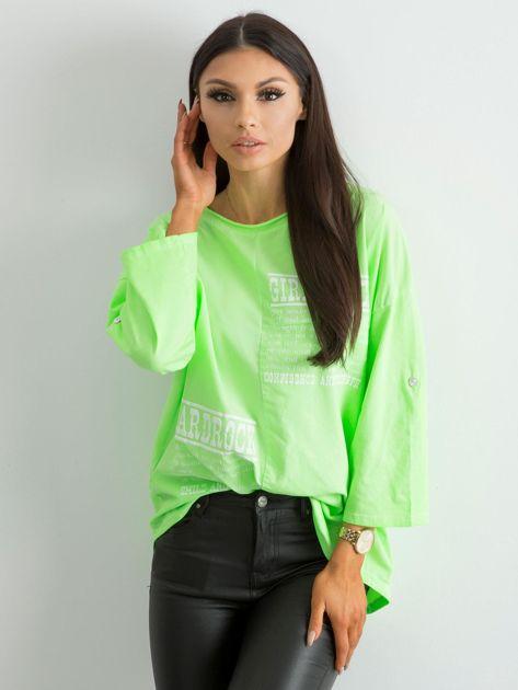 Bluzka damska z nadrukiem fluo zielona