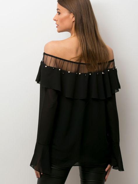 Bluzka hiszpanka z perełkami czarna                              zdj.                              2