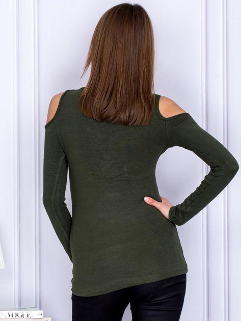 Bluzka khaki cold arms ze sznurowanym dekoltem                              zdj.                              2