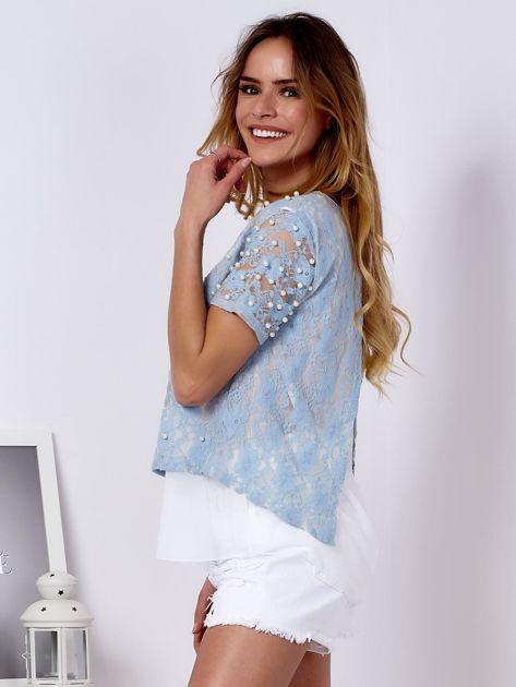 Bluzka koronkowa jasnoniebieska z perełkami                                  zdj.                                  3