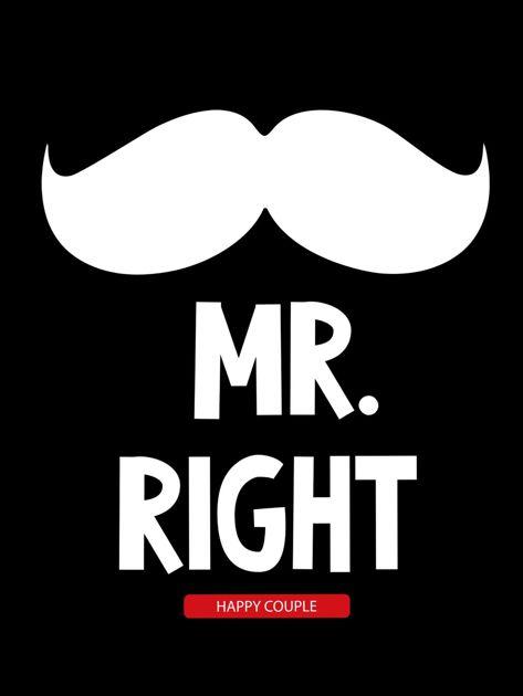 Bluzka męska czarna z wąsami MR. RIGHT dla par                              zdj.                              2