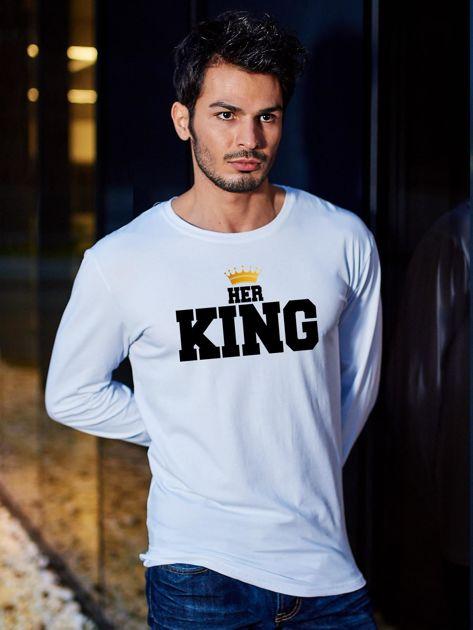 Bluzka męska z długim rękawem HER KING dla par biała                                  zdj.                                  1