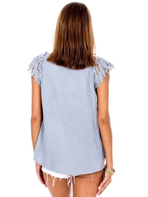 Bluzka szara z koronkowymi rękawami                              zdj.                              2