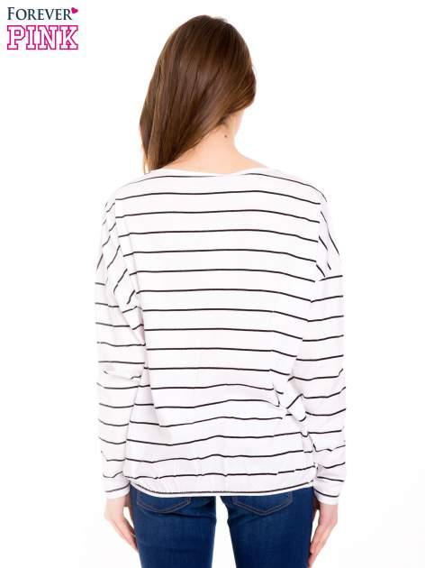 Bluzka w biało-czarne paski z gumką u dołu                                  zdj.                                  3