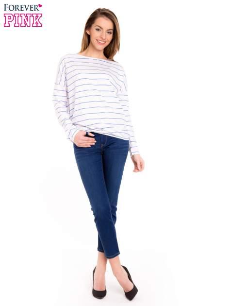 Bluzka w biało-niebieskie paski z gumką u dołu                                  zdj.                                  2
