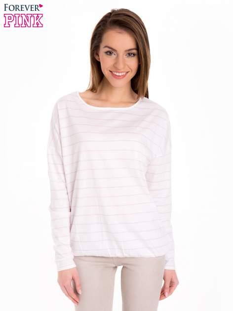 Bluzka w biało-różowe paski z gumką u dołu                                  zdj.                                  1