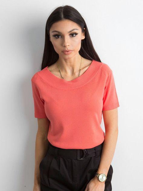 Bluzka z krótkim rękawem ciemnopomarańczowa                              zdj.                              1