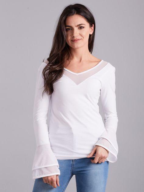 Bluzka z ozdobnymi rękawami biała                              zdj.                              1